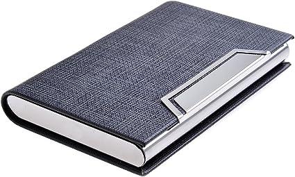 Quantum Abacus Tarjetero/Estuche para tarjetas de visita, de acero inoxidable y cuero PU, con cierre magnético, elegancia clásica de todos los tiempos, 704-01 (DE): Amazon.es: Oficina y papelería