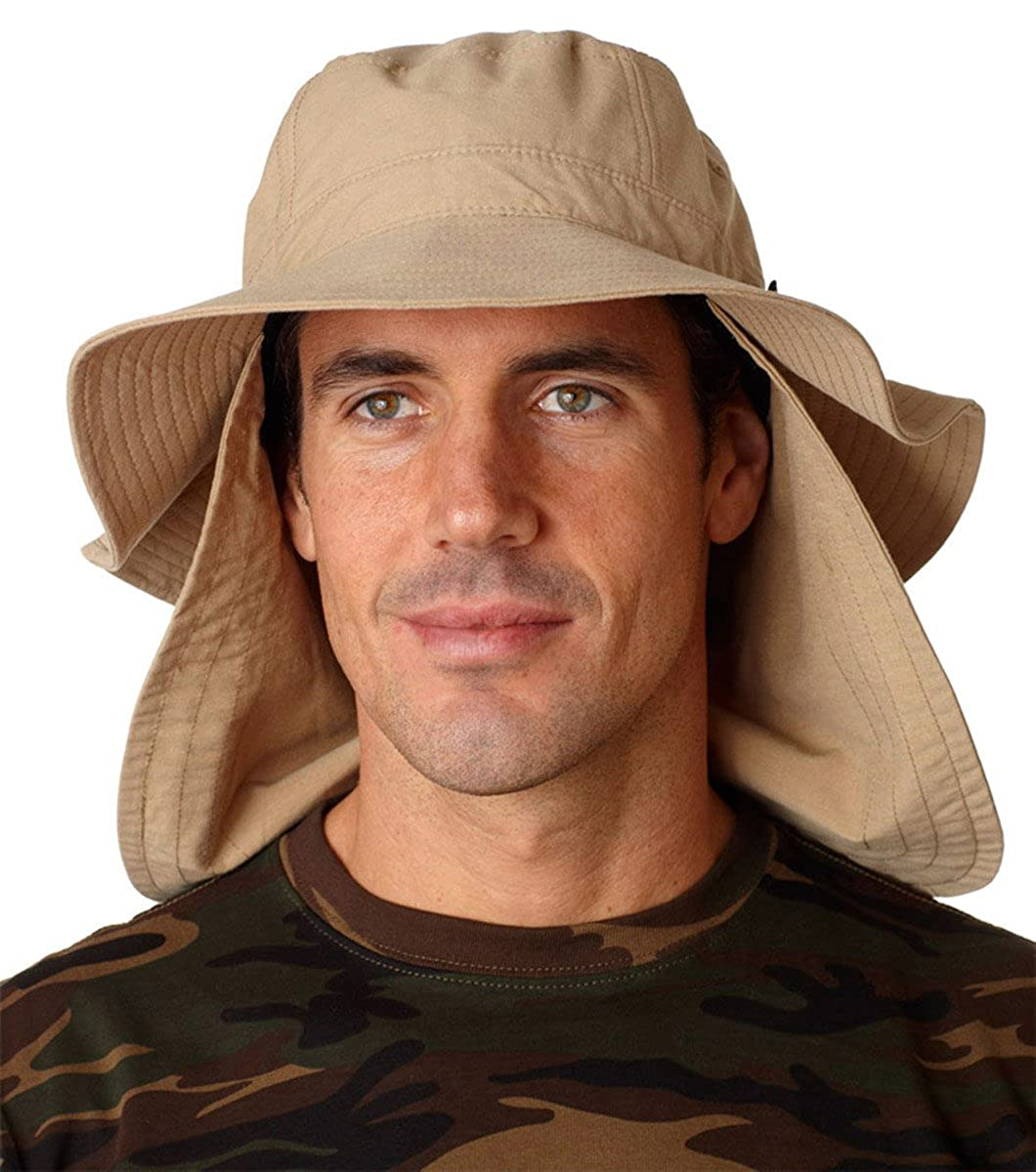 477579f96 Whispering Pines Sportwear UBM101 Extreme Vacationer Bucket Cap With Neck  Cape, Khaki, Large