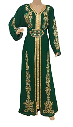 720278af8a Image Unavailable. Image not available for. Color: Green Moroccan Kaftan  Dress Caftan takchita ...