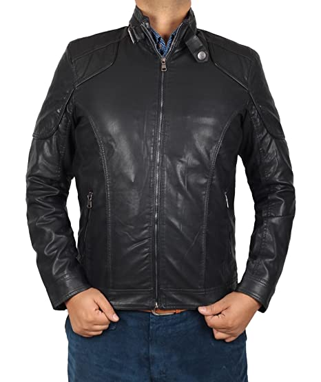 Decrum Motorcycle Leather Jackets For Men Cool Black Leather