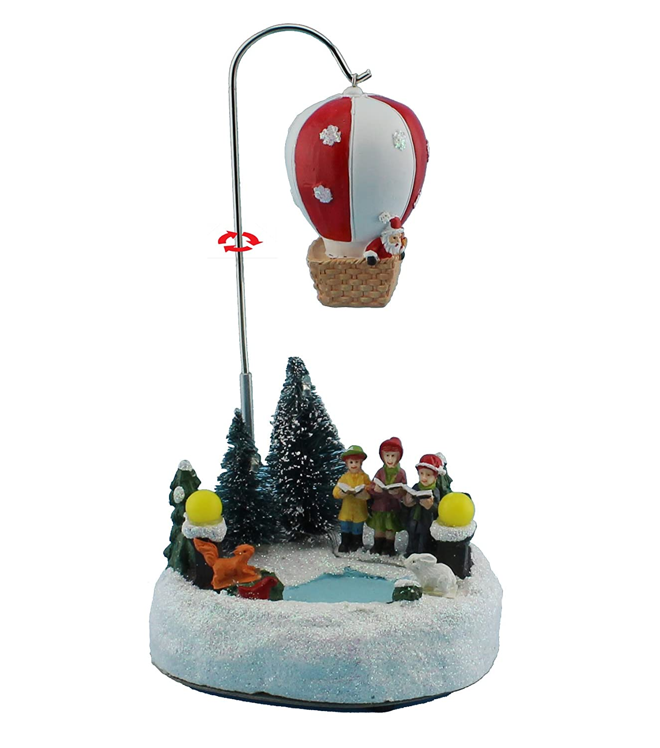 innodept12 Christmas Decor Animated Rotating Collectible Figurine Building & Choirs with Led Light and Music Holiday Decoration & Gift (Rolling Air Ballon)
