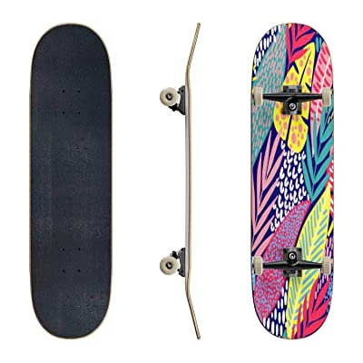 EFTOWEL Skateboards Bright Tropical Leaf Seamless Pattern Colorful Seamless Stock Classic Concave Skateboard Cool Stuff Teen Gifts Longboard Extreme Sports for Beginners and Professionals : Sports & Outdoors