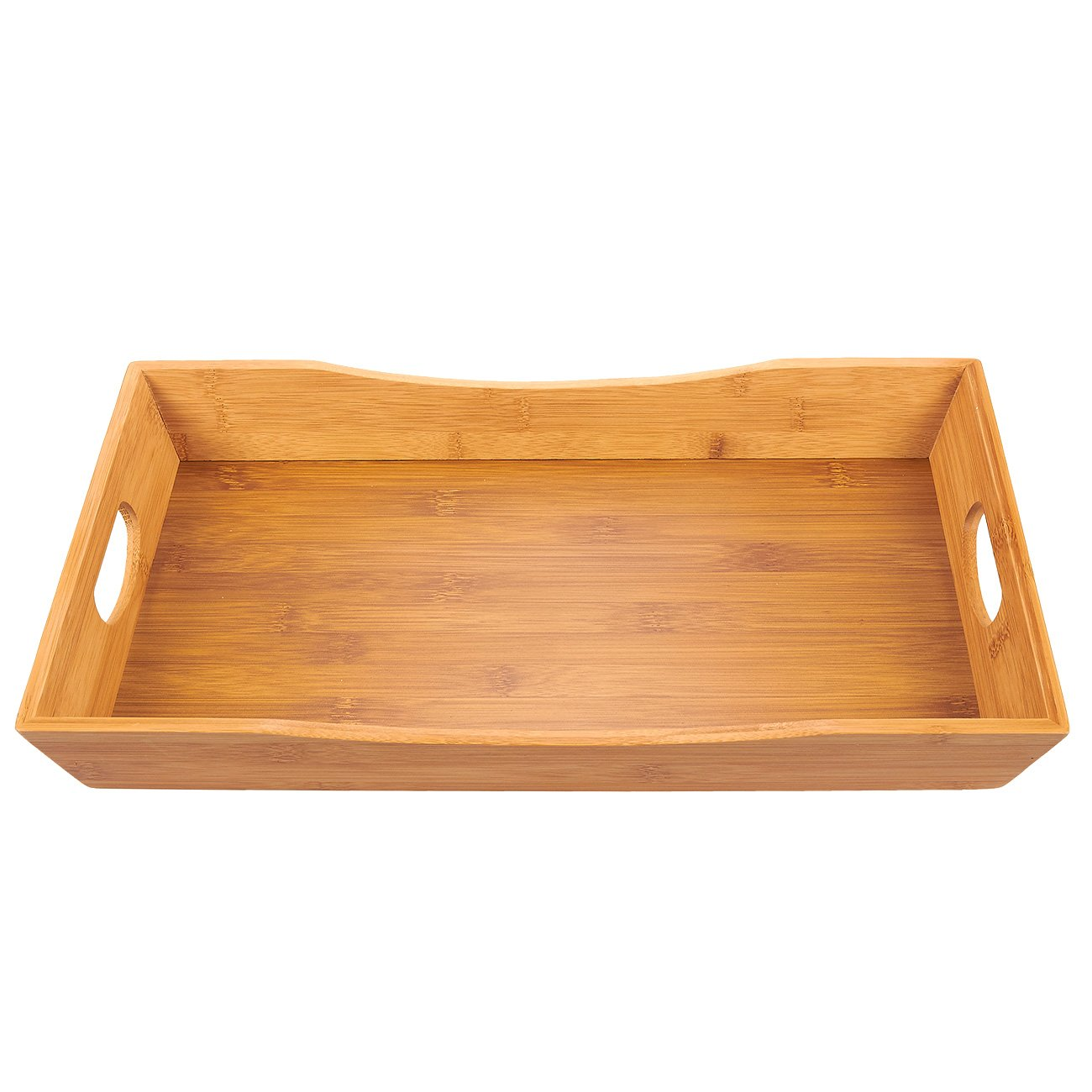 Juvale Bamboo Serving Tray - Breakfast Serving Tray with Double Handles for Food and Beverage, Ottoman Bed Tray, Brown, 16 x 2.1 x 9.7 Inches