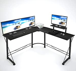 L-Shaped Desk, Modern Round Corner PC Laptop Computer Desk. 50.4 inch. Home Office Study Writing Workstation Gaming Desk with Large Stable Monitor Stand. Space-Saving, Easy to Assemble, Black