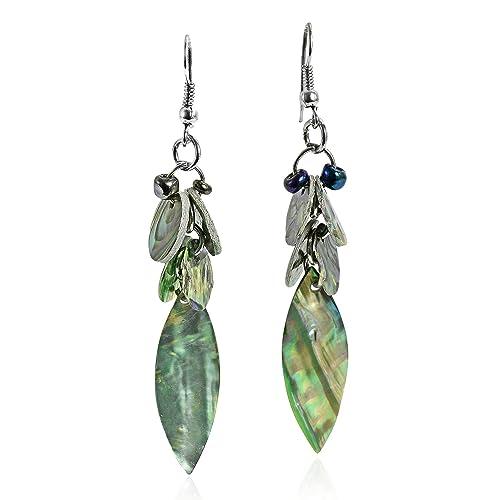 Amazon.com: Verde azulado tono Abalone Shell de hojas ...