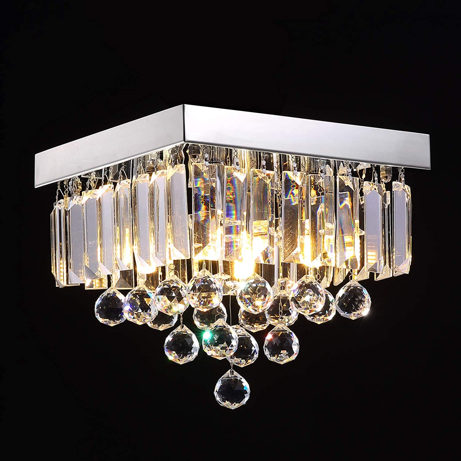 Siljoy Crystal Chandelier Lighting for Hallway Modern Raindrop Design Ceiling Light W10 x H9