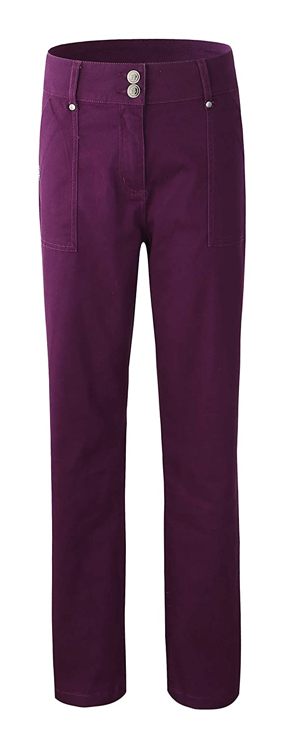 Bienzoe Women's Fashion Causal Twill Stretch Straight-Leg Pants