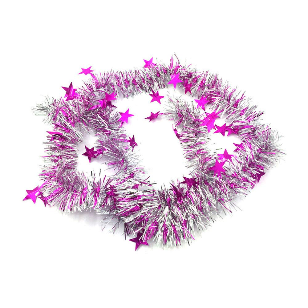 Amiley Elegant Hanging Holiday Plastic Garland 3-inches Thick x 5.9-feet - 6 Color (Hot Pink)