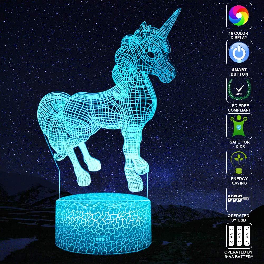 QiLiTd LED Lampe 16 couleur Lumi/ère Dimmable Tactile Interrupteur USB//Batterie Ins/érer Decoration Anniversaire Cadeau No/ël Pour B/éb/é Enfant Ado Femme Homme Chien Pit-bull 3D Lampes avec T/él/écommande
