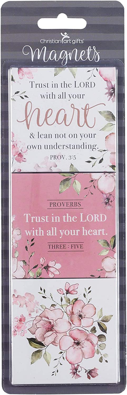 Christian Art Gifts Pink Flower Refrigerator Magnets | Trust In The Lord - Proverbs 3:5 Bible Verse | Heart Collection Inspirational Fridge Magnet Set/3-2.5""