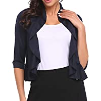 Aceshion Women's Open Front Cropped Cardigan 3/4 Sleeve Casual Shrugs Jacket Draped Ruffles Lightweight Sweaters