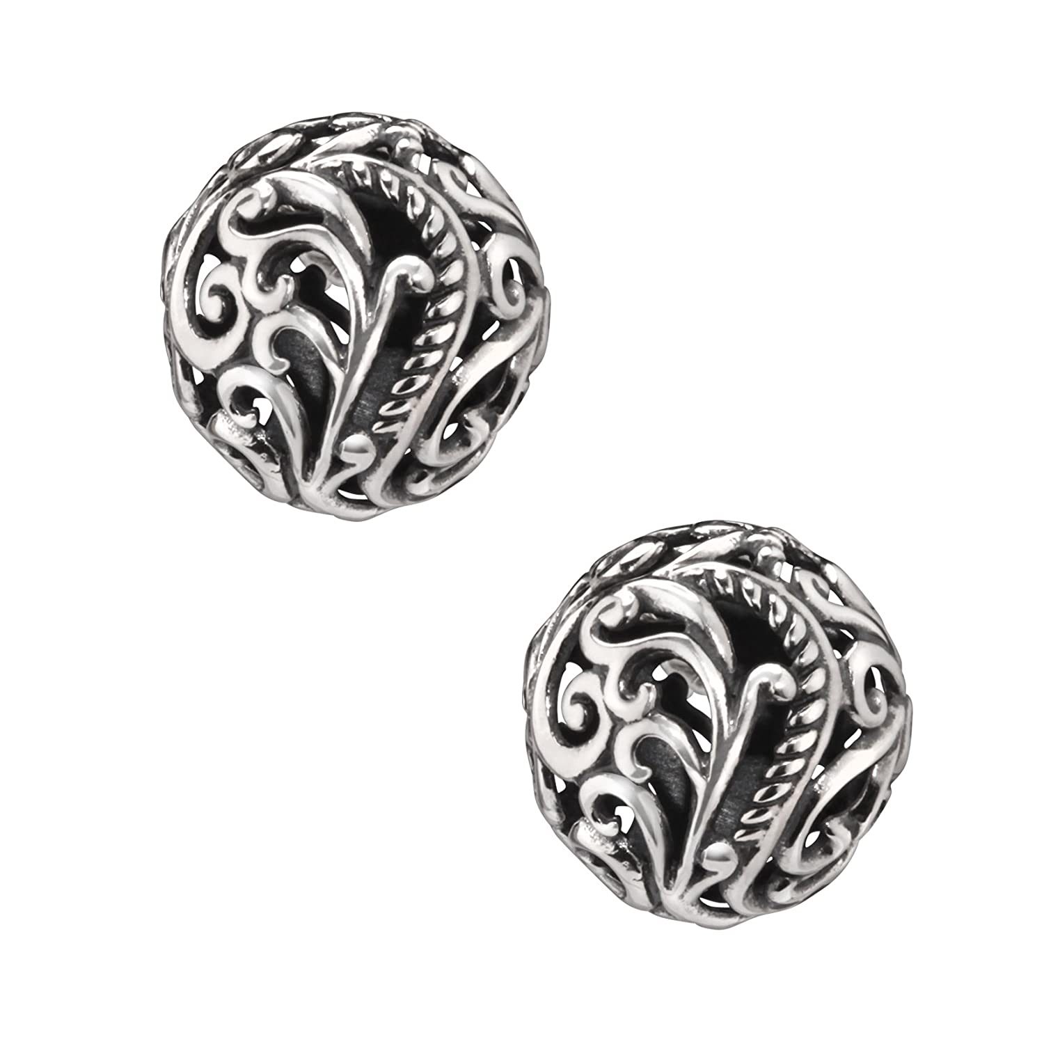 Carolyn Pollack Signature Sterling Silver Button Earrings Relios cp4-7323-183