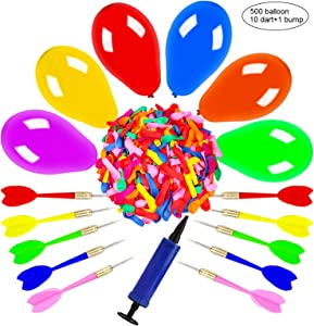 OOTSR Dart Balloon Game Set Includes 500 Balloons & 10 Darts Plus Pump - Exciting Outdoor Game for Adults, Best Carnival, Birthday Party & Backyard Fun