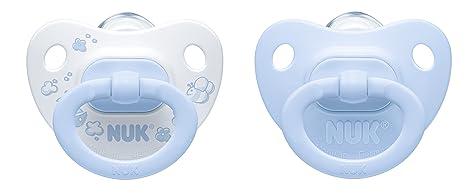 Nuk Classic - Pack de 2 chupetes fisiológicos de silicona T1, color azul