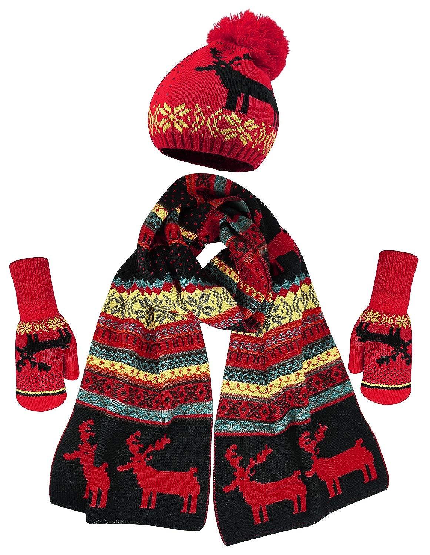 ce1fd3196495e0 Bienvenu Women Scarf & Glove Set, Knitted Snowflake Deer Detail & Matching  Cap, Red at Amazon Women's Clothing store: