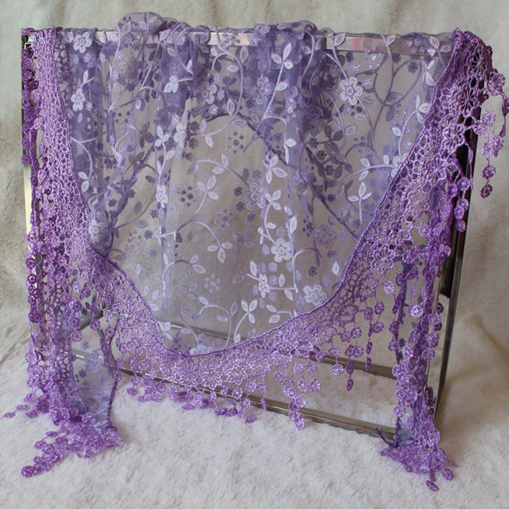 Xdodnev Women Lace Sheer Floral Triangle Veil Church Mantilla Scarf Shawl Wrap Tassel