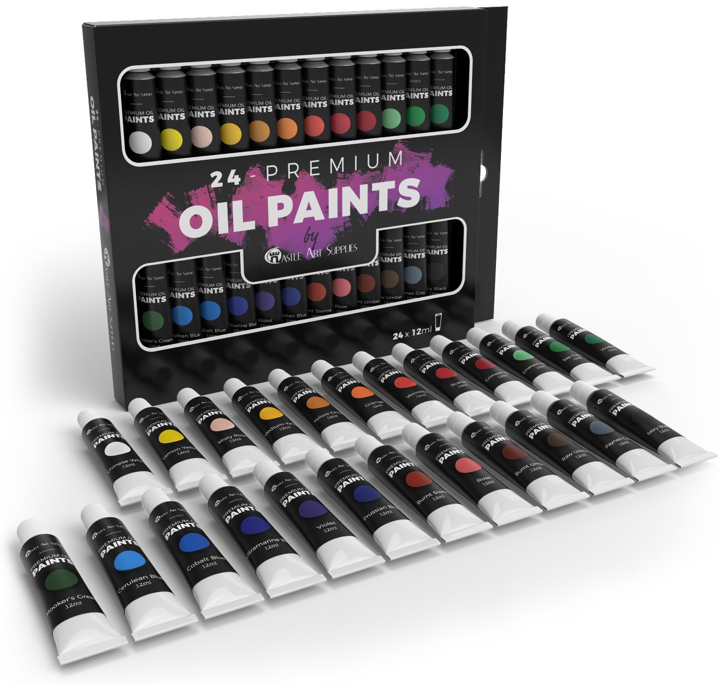 Castle Art Supplies Oil Paint Set for Artists or Beginners - 24 Vivid Oil Colours - Professional Painting Kit 4336953477