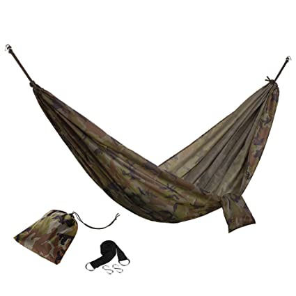 VonHaus Portable Lightweight Single Outdoor Camping Adventure Hammock with Heavy Duty Tree Straps & Travel Bag,