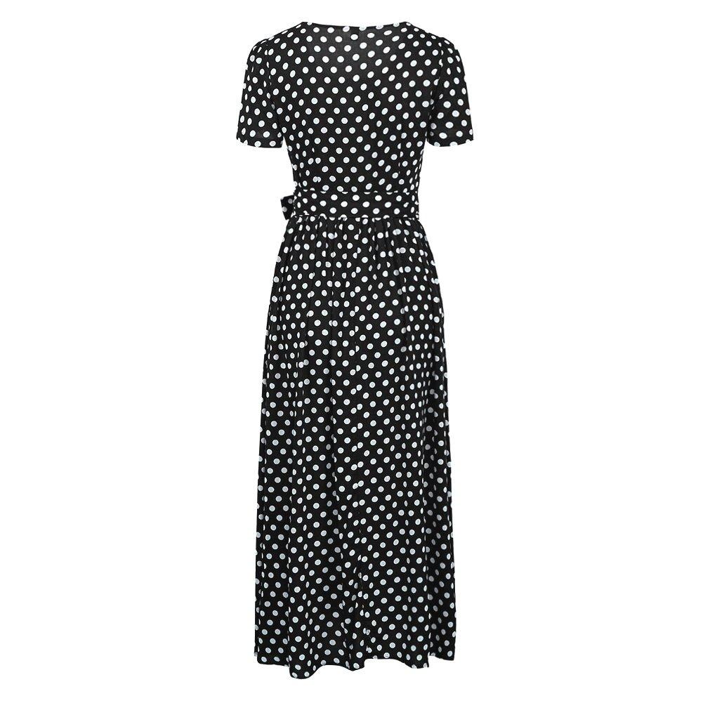 Romacci Women Polka Dot Long Dress Short Sleeves High Waist Tie A-Line Vintage Maxi Dress (L, Black) by Romacci (Image #7)