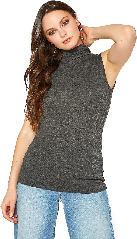 Womens Sleeveless Loose Mock Neck Basic Solid Fitted Top and Plus Size Sleeveless Loose Mock Neck Basic Solid Fitted Top