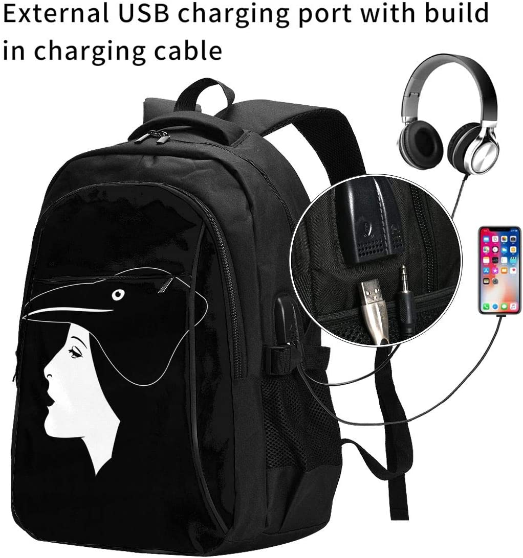 Crow Girl Travel Laptop Backpack,Business Anti Theft Slim Durable Laptops Backpack with USB Charging Port,College School Computer Bag Gifts