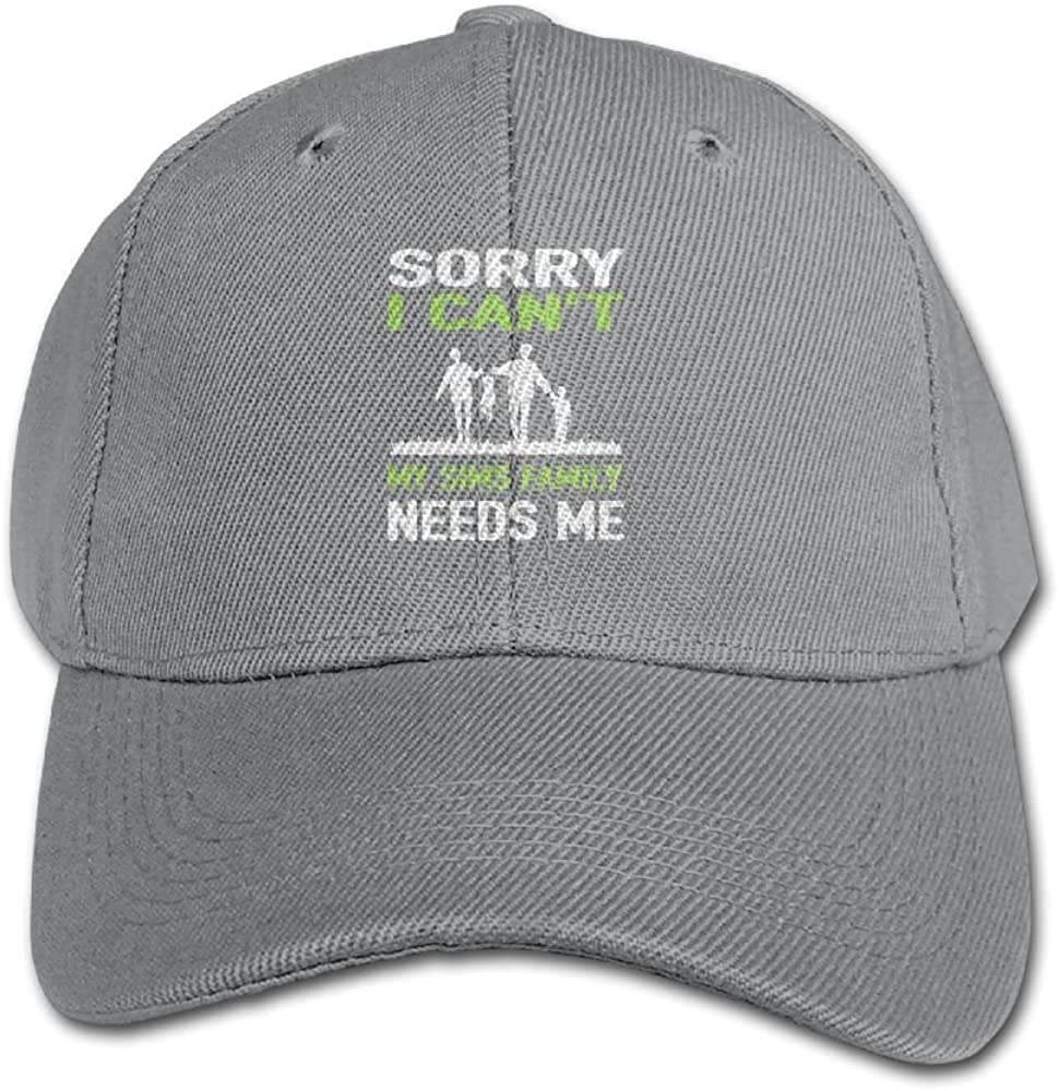 Haibaba Sorry I Cant My Sims Family Needs Me Boys and Girls Black Baseball Caps Solid Hats