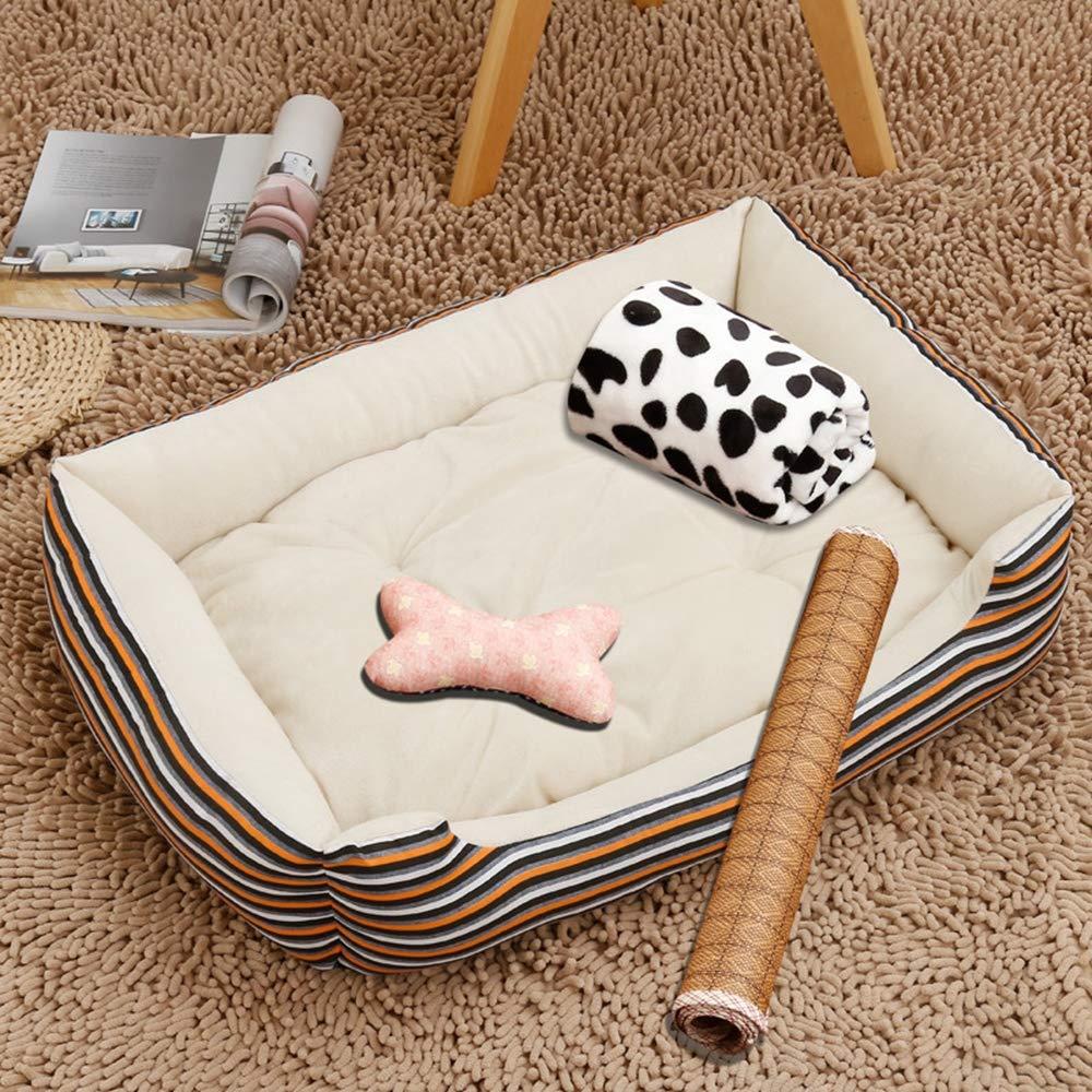 Small Pet Bed, Dog Sofa Cushion Pet Cat Dog Warm Pad Ice Silk Cold Sense Pad Summer Winter Dog Cooling Pad,Stripes,S