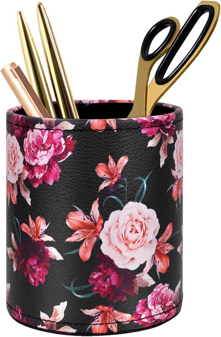 Pen Pencil Holder, WAVEYU Floral Flower Pattern Pen Cup Container PU Leather Desk Organizer Stand Decor Brush Scissor Holder Desk Organizer Decoration for Office Desk Home Decorative, Floral