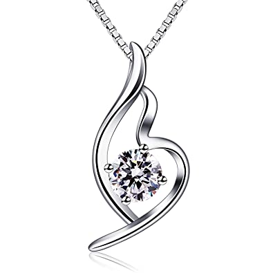 B.Catcher S925 Sterling Silver Heart Necklace Cubic Zirconia Pendant Classic Love Women Necklaces with Box Chain 0vDi0aP