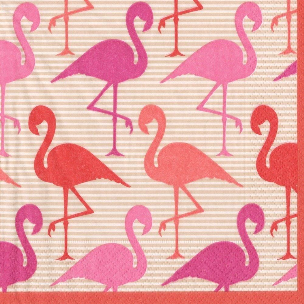 Caspari Entertaining Flamingo Strut, Cocktail Napkin, Pack of 20 Entertaining with Caspari 12550C