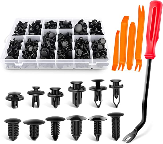 GEHUAY Bumper Clips Trim Removal Tool 53 Pcs Popular Sizes Auto Fasteners Rivet Clips Car Retainer Clips with Fastener Remover Pry Tool Door Trim Panel Clips for Car