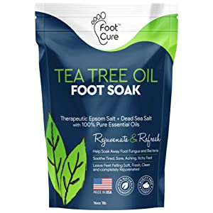 Foot Cure Tea Tree Oil Foot SOAK with EPSOM Salt - Extra Strength Formula - for Toenail Fungus, Athletes Foot, Stubborn Foot Odor Scent, Fungal, Softens Calluses & Soothes Sore Tired Feet.