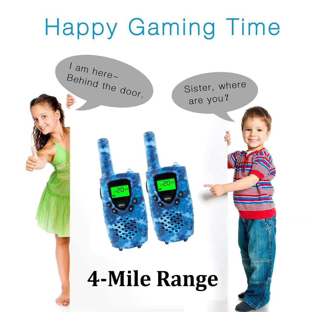FAYOGOO Kids Walkie Talkies, Birthday Presents for Kids, 22-Channel FRS/GMRS Radio, up to 4-Mile Range Two Way Radios, Best Toys for 3 4 5 6 7 8 9 10 Year Old Boys & Girls (Camo Blue) by FAYOGOO (Image #5)
