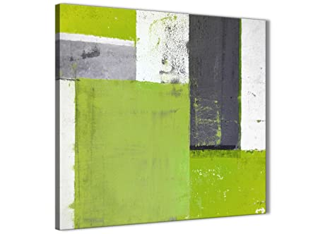 wallfillers lime green grey abstract painting canvas wall art print