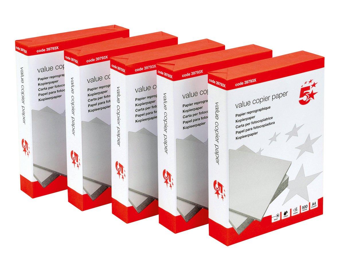 5 Star risma di carta multifunzione per fotocopiatrice, 80 gsm, A4, bianca [5 x 500 fogli] Spicers Ltd 397921