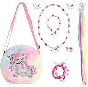 Elesa Miracle Little Girl Unicorn Plush Purse Handbag Kids Necklace Bracelet Clip on Earrings Wigs Pretend Play Toy Playset Jewelry Value Set
