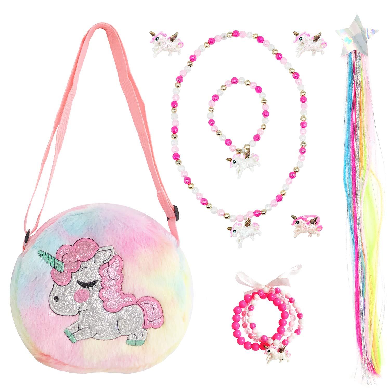 Elesa Miracle Little Girl Unicorn Plush Purse Handbag Kids Necklace Bracelet Clip on Earrings Wigs Pretend Play Toy Playset Jewelry Value Set by Elesa Miracle