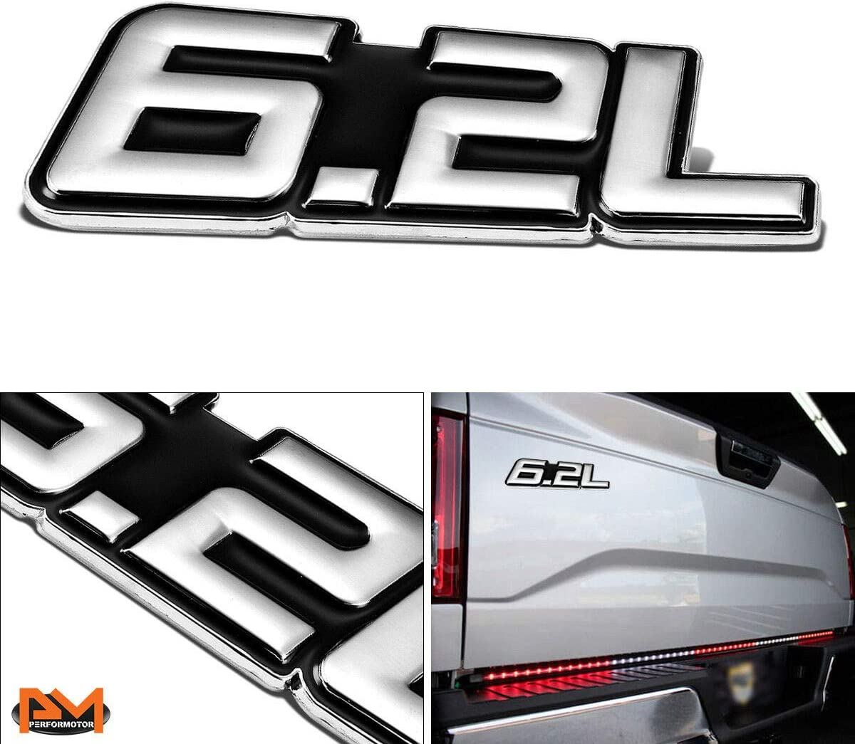 2x 3D Chrome Finish Metal 6.2L Emblem Alloy Badge Sticker Black