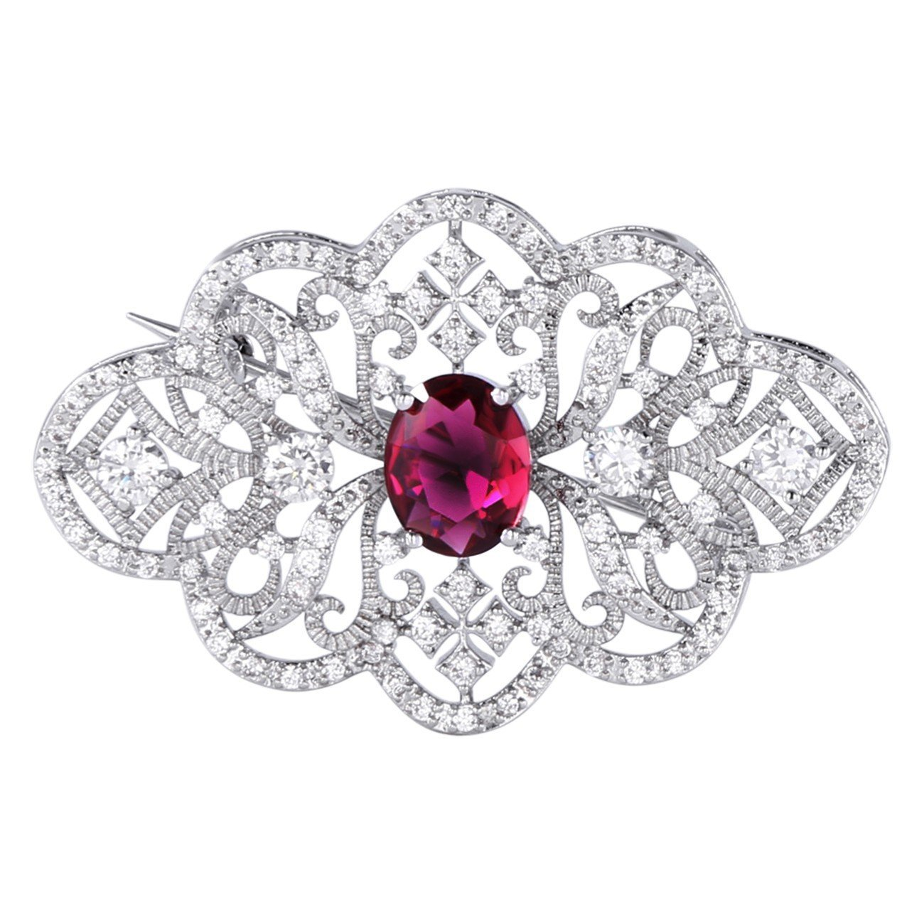 GULICX Victorian Style Cubic Zirconia Brooch Pin Art Deco White Gold Tone  Ruby Color For Women
