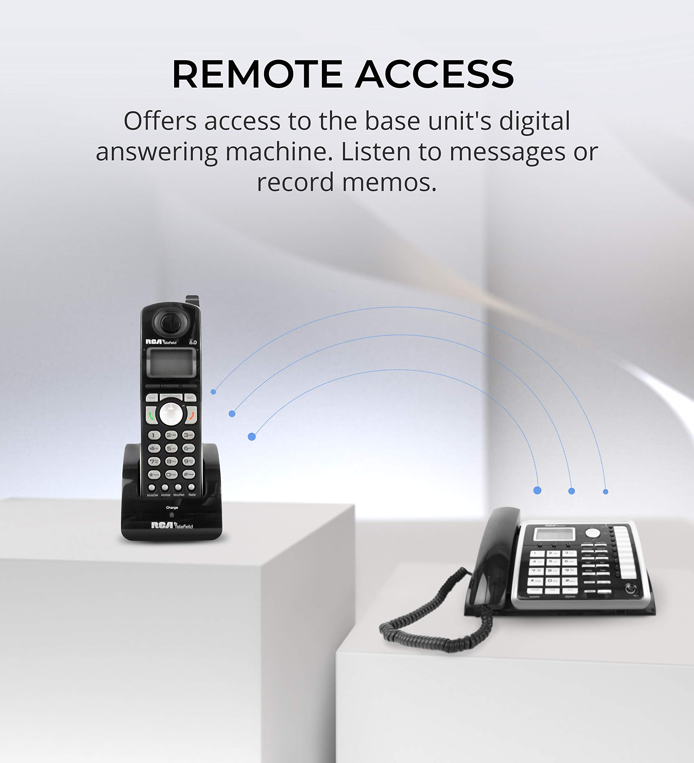 RCA 25260 2-Line Expandable Phone System - Full Duplex Telephone with Built-in Intercom Bundle with RCA 25055RE1 DECT 6.0 Cordless Accessory Handsets (3-Pack) and 6 Blucoil AA Batteries by blucoil (Image #6)