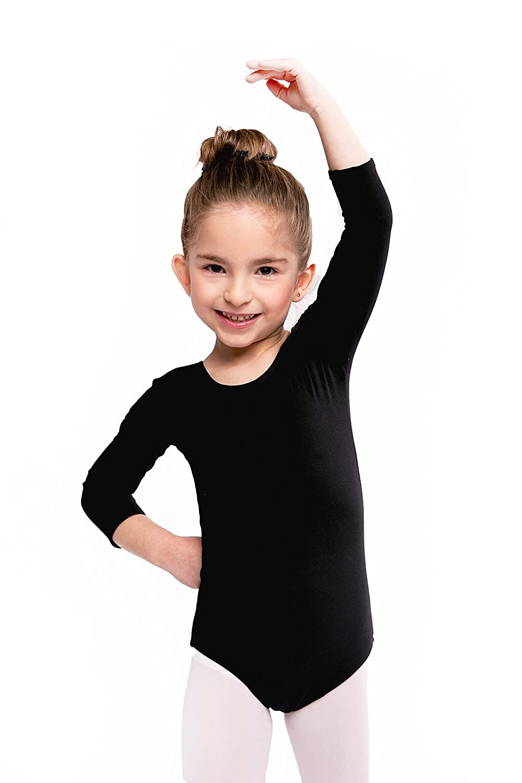 Assoluta girls 3//4 arm leotard ballet bodysuit cotton