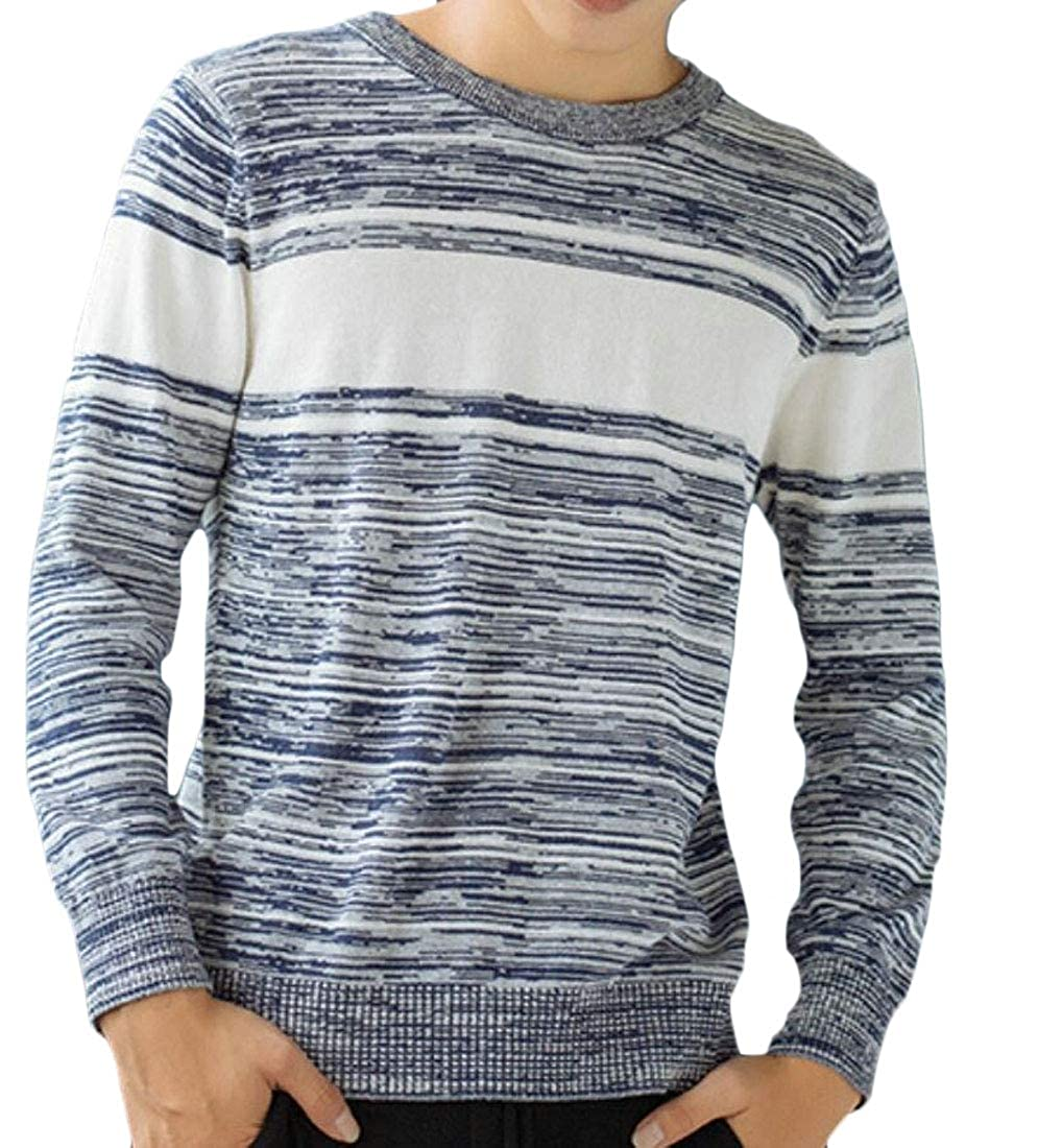 WSPLYSPJY Mens Print Long Sleeve Knit Cotton Pullover Sweater Top Blouse