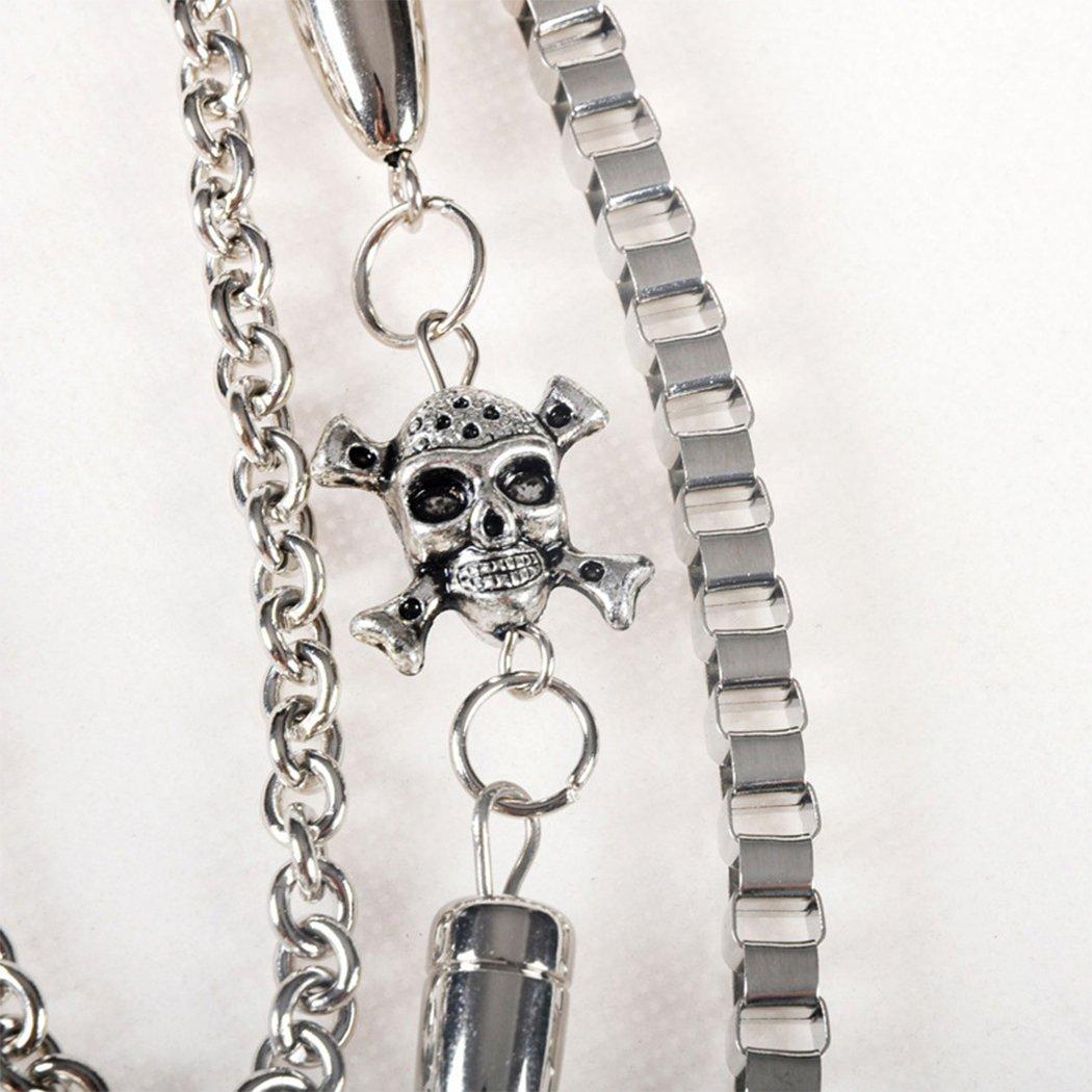 Raylans Mens Hip Hop Punk Pants Wallet Chain Bullets Charm Skull Waist Chain