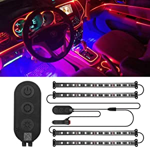 Interior Car Lights, S.M Good APP Controller Car LED Strip Lights for Cell Phone,Waterproof 4pcs 48 LED Multi DIY RGB Color Music under Dash Car Lighting Kits with Music Sensor,Car Charger,DC 12V