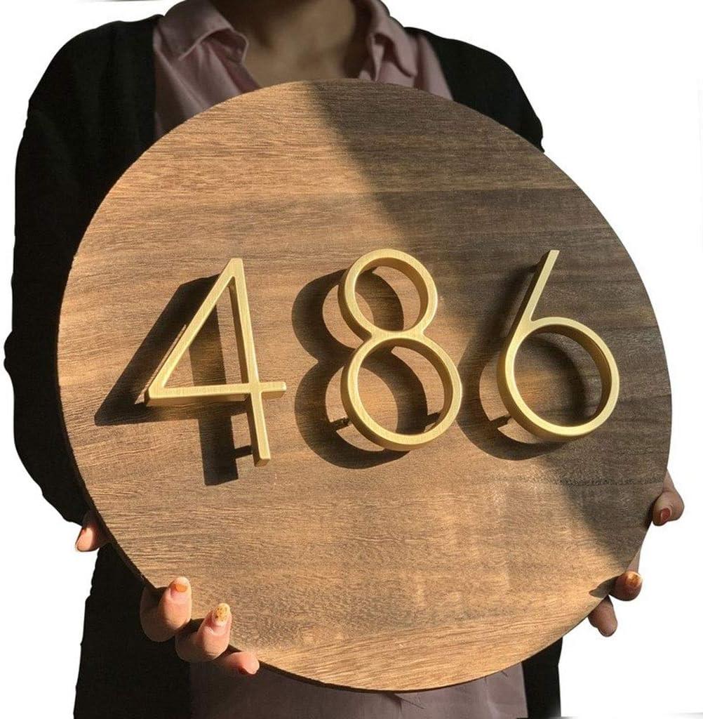 12cm Maison Flottante Moderne Nombre Laiton Satin/é Adresse Porte Accueil Num/éros For Plaques Sign House Digital Outdoor 5 Pouces # 0-9 Color : 3 Plaques De Num/éro De Porte