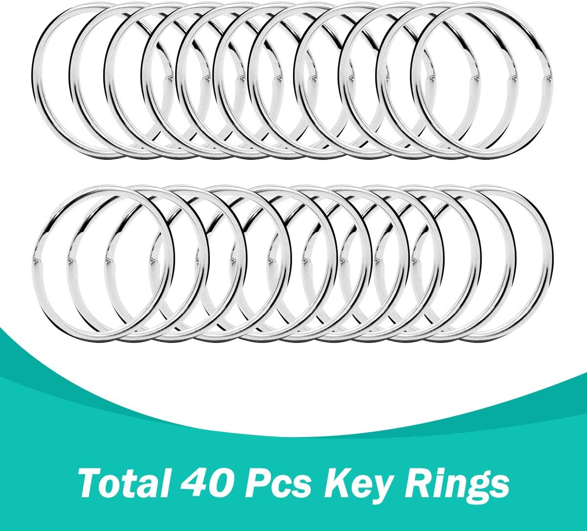 80 Pcs Premium Swivel Snap Hooks with Key Rings,Metal Lanyard Keychain Hooks Lobster Clasps for Key Jewelry DIY Crafts 40 Pcs Lanyard Snap Hooks+40 Pcs Key Rings