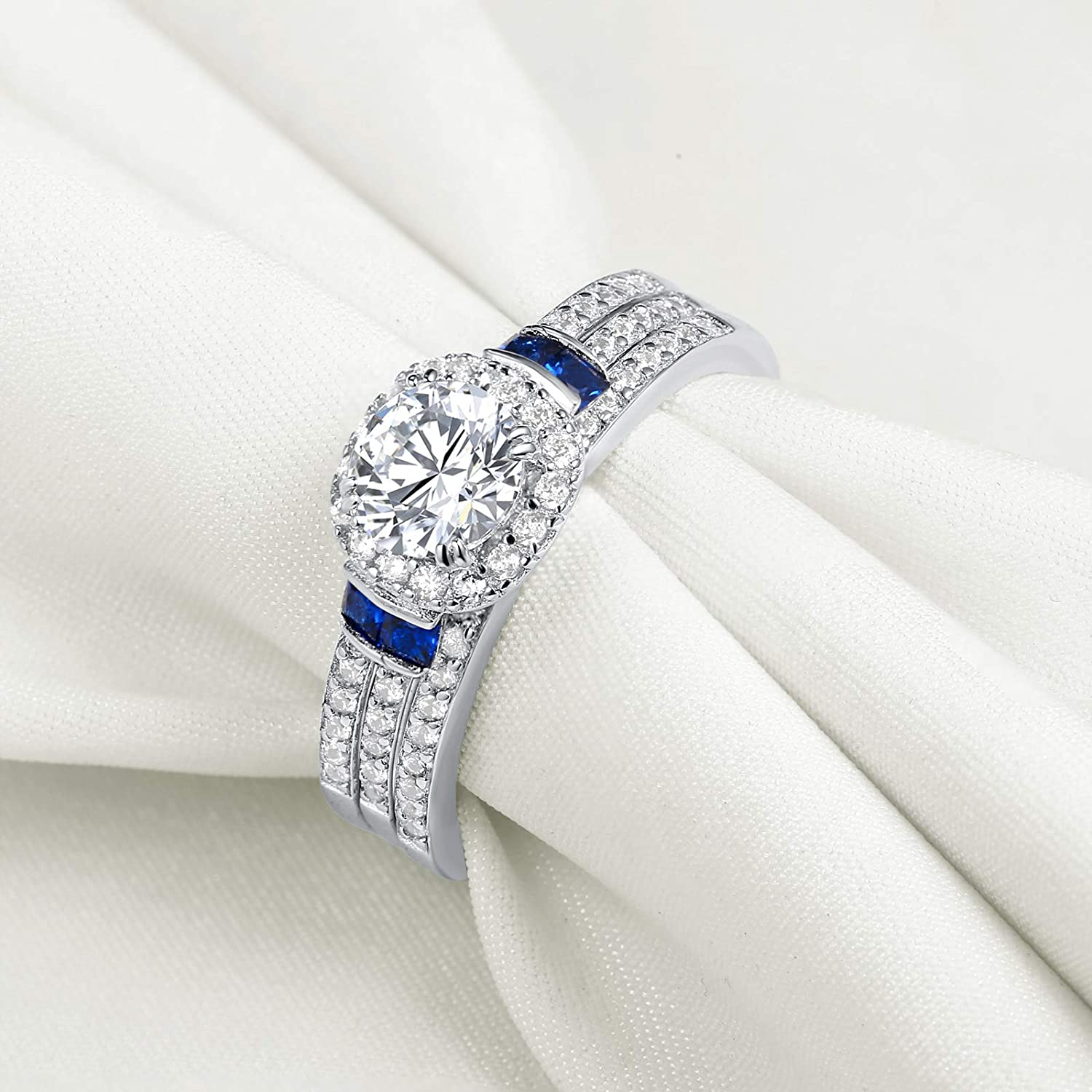 Newshe 3pcs Created Blue Sapphire AAA Cz 925 Sterling Silver Engagement Wedding Ring Set Size 5-10