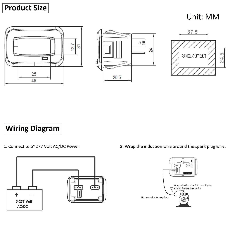 Amazon.com: SEARON Digital Inductive Engine Hour Meter and AC/DC ...