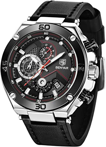 BENYAR Classic Fashion Business Waterproof Chronograph,Big Face Design Wrist Watch for Men,Casual Sports Leather Strap