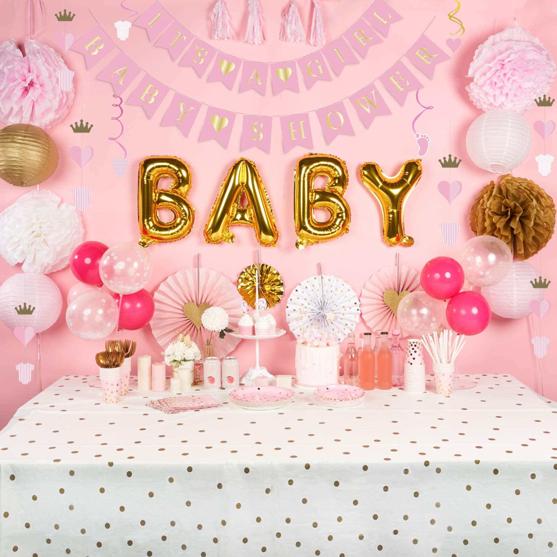 decorlife Girl Baby Shower Decoration, It's a Girl Baby Shower Decor, Including Pre-Strung Banners, Balloons, Sash, Swirls Decor, Pom Poms, Paper Fans, Lanterns, Tassels - 59PCS